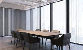 Lieu de réunion lumineux moderne avec de grandes fenêtres panoramiques, rendu 3d Photo stock