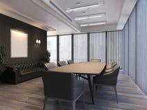 Lieu de réunion moderne avec de grandes fenêtres panoramiques et murs sombres, rendu 3d Photographie stock
