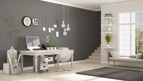 Lieu de travail à la maison, pièce blanche et grise scandinave, bureau faisant le coin, illustration libre de droits