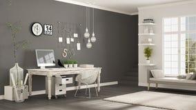 Lieu de travail à la maison, pièce blanche et grise scandinave, bureau faisant le coin, illustration de vecteur