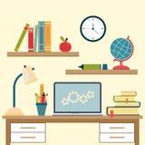 Lieu de travail avec des articles d'éducation d'objet et d'université de lycée Image stock