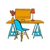 Lieu de travail avec l'ordinateur et la chaise illustration libre de droits