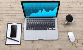 Lieu de travail avec l'ordinateur portable, smartphone, café, bloc-notes Image stock