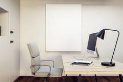 Lieu de travail avec la bannière vide Image libre de droits