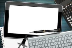 Lieu de travail avec la tablette numérique Image stock