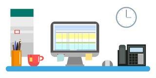 Lieu de travail avec un ordinateur et un directeur ou un programmeur d'inventaire de bureau Calendrier mural et tasse d'horloge,  illustration libre de droits