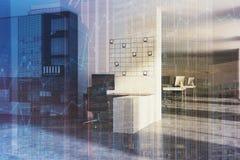 Lieu de travail blanc de bureau, photos modifiées la tonalité Photos stock