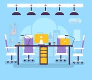 Lieu de travail de bureau de Coworking pour l'illustration de vecteur de personnes Fond créatif d'éléments d'environnement commer illustration stock