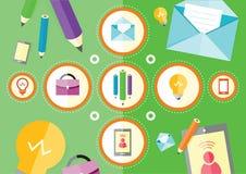 Lieu de travail d'affaires avec le smartphone numérique de comprimé illustration stock