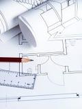 Lieu de travail d'architecte photo stock