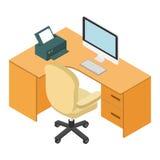 Lieu de travail 3d isométrique de bureau d'ordinateur Photos libres de droits