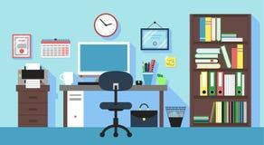 Lieu de travail dans la chambre de bureau Images libres de droits