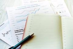 Lieu de travail dans le bureau, le bloc-notes et les graphiques Image stock