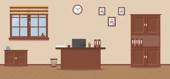 Lieu de travail dans le bureau sur un fond crème illustration libre de droits