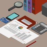 Lieu de travail de commissaire aux comptes, documents comptables, l'analyse de ces r illustration de vecteur