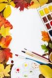 Lieu de travail de concept d'Autumn d'artiste Vue supérieure Photos stock