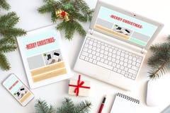 Lieu de travail de concepteur de Web la saison de Noël Photographie stock