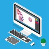 Lieu de travail de concepteur Illustration isométrique de vecteur Image stock