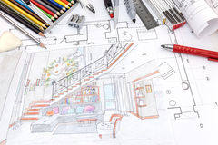 Lieu de travail de concepteurs avec le croquis peint à la main coloré de r vivant Image libre de droits