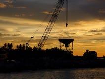 Lieu de travail de coucher du soleil Photo stock