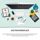 Lieu de travail de docteur Icônes de médecine réglées dans le style plat de conception plat Image stock