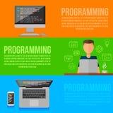 Lieu de travail de programmeur Instruments de programmeur de vecteur illustration stock