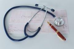 Lieu de travail de Docter avec un diagramme de cardiogramme de stéthoscope avec le plan rapproché médical de table, parce que dis Images libres de droits