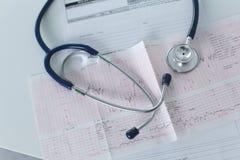 Lieu de travail de Docter avec un diagramme de cardiogramme de stéthoscope avec le plan rapproché médical de table, parce que dis Photos stock