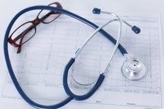 Lieu de travail de Docter avec un diagramme de cardiogramme de stéthoscope avec le plan rapproché médical de table, parce que dis Photographie stock libre de droits
