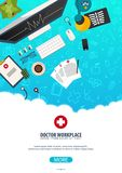 Lieu de travail de docteur Affiche médicale Soins de santé Illustration de médecine de vecteur illustration stock