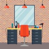 Lieu de travail du coiffeur s chez le salon de coiffure de beauté de la femme Chaise, miroir, table, outils de coiffure, produits illustration stock