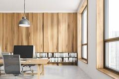 Lieu de travail en bois léger de bureau illustration stock