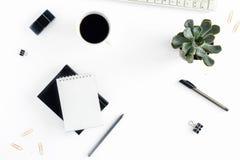 Lieu de travail féminin avec le clavier, le bloc-notes, les succulents, le stylo et le c Photos stock