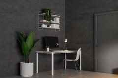 Lieu de travail gris-foncé d'ordinateur de siège social illustration libre de droits