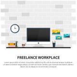 Lieu de travail indépendant Lieu de travail minimaliste Illustration plate de vecteur Image stock