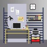 Lieu de travail intérieur plat, moderne, et élégant Image stock