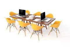 lieu de travail moderne de l'ordinateur 3d, table de conférence Image stock