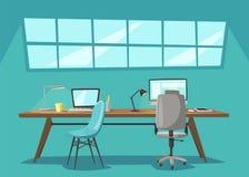 Lieu de travail moderne Travail de bureau Illustration de vecteur de dessin animé illustration de vecteur
