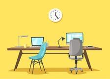 Lieu de travail moderne Travail de bureau Illustration de vecteur de dessin animé illustration libre de droits