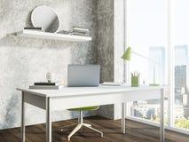 Lieu de travail panoramique gris de siège social illustration de vecteur