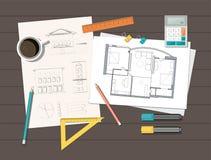 Lieu de travail - plan technique de maison d'architecte de projet Fond de construction illustration libre de droits