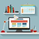 Lieu de travail plat, web design Image libre de droits