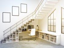 Lieu de travail sous les escaliers Photographie stock libre de droits