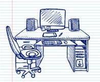 Lieu de travail sur le cahier d'école Images stock