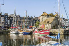 The Lieutenance. La Lieutenance and the old boat basin in Honfleur Stock Photos