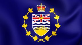 Lieutenant-Governor of British Columbia Flag. Lieutenant-Governor of British Columbia 3D Flag, Canada. Close Up Royalty Free Stock Image