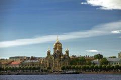 Lieutenant Schmidt embankment, Orthodox Church in St. Petersburg Royalty Free Stock Photos