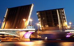 Lieutenant Shmidt's drawbridge at night Stock Photo
