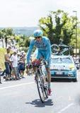 骑自行车者Lieuwe Westra -环法自行车赛2014年 图库摄影