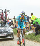 Lieuwe Westra Riding on a Cobblestone Road - Tour de France 2015 Stock Image